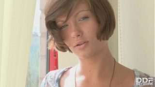 Barely legal Russian babe Meddie works a glass dildo deep in her wet pussy
