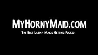 Beautiful Latina maid sucks and fucks huge POV dick