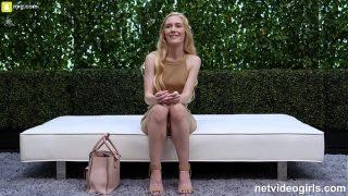 Sexy Nerdy Blonde Rides To A Creampie