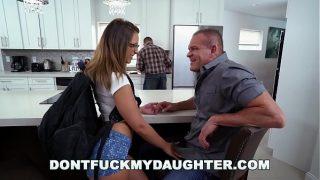 Slutty Teen Sneaking Around With Daddys Friend